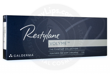 Picture shows RESTYLANE® VOLYME original box from Europe